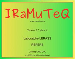 Capture d'écran du programme Iramuteq