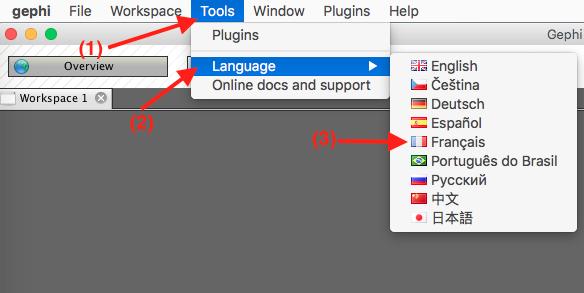 Capture d'écran du programme Gephi changement de la langue