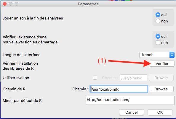 Capture d'écran du programme Iramuteq vérification installation librairies R