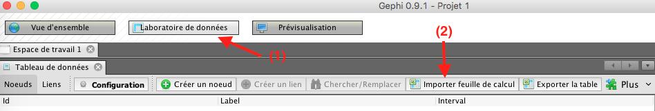 Capture d'écran du programme Gephi importer feuille de calcul