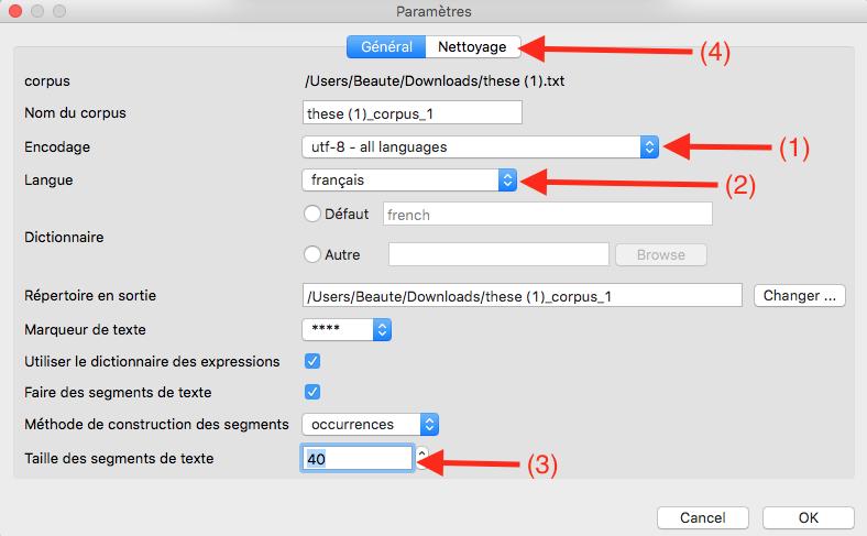 Capture d'écran du programme Iramuteq parametres d'importation