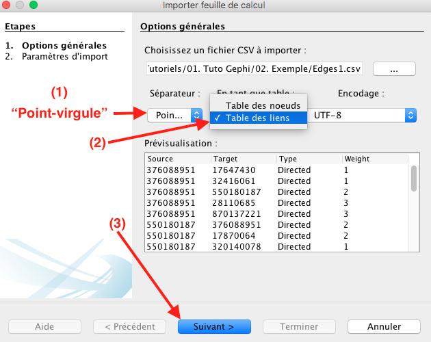 Capture d'écran du programme Gephi table des liens