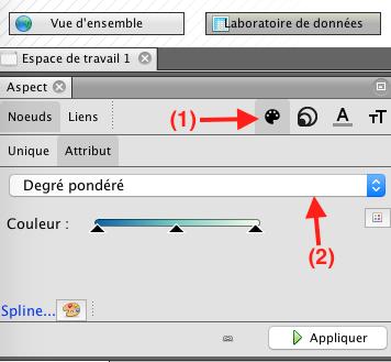 Capture d'écran du programme Gephi coloration des noeuds