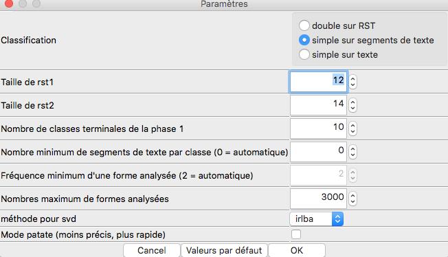 Capture d'écran du programme Iramuteq Reinert parametres