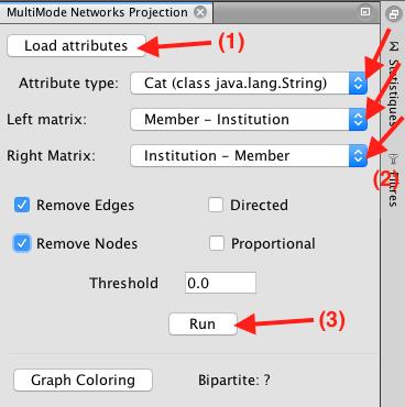 Capture d'écran du programme Gephi multimode