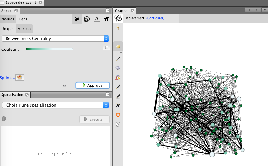 Capture d'écran du programme Gephi couleur betweeness