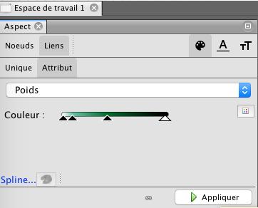 Capture d'écran du programme Gephi couleur des liens