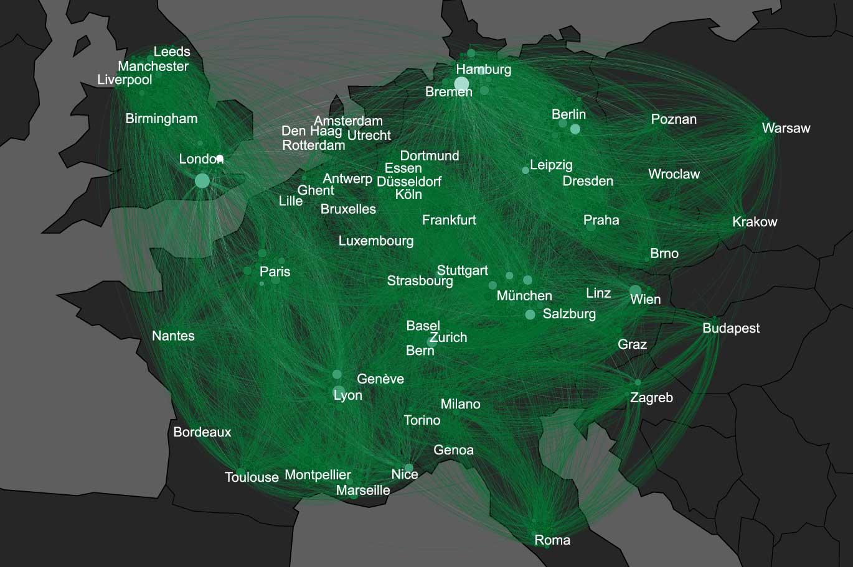 carte du réseau sur carte de l'europe