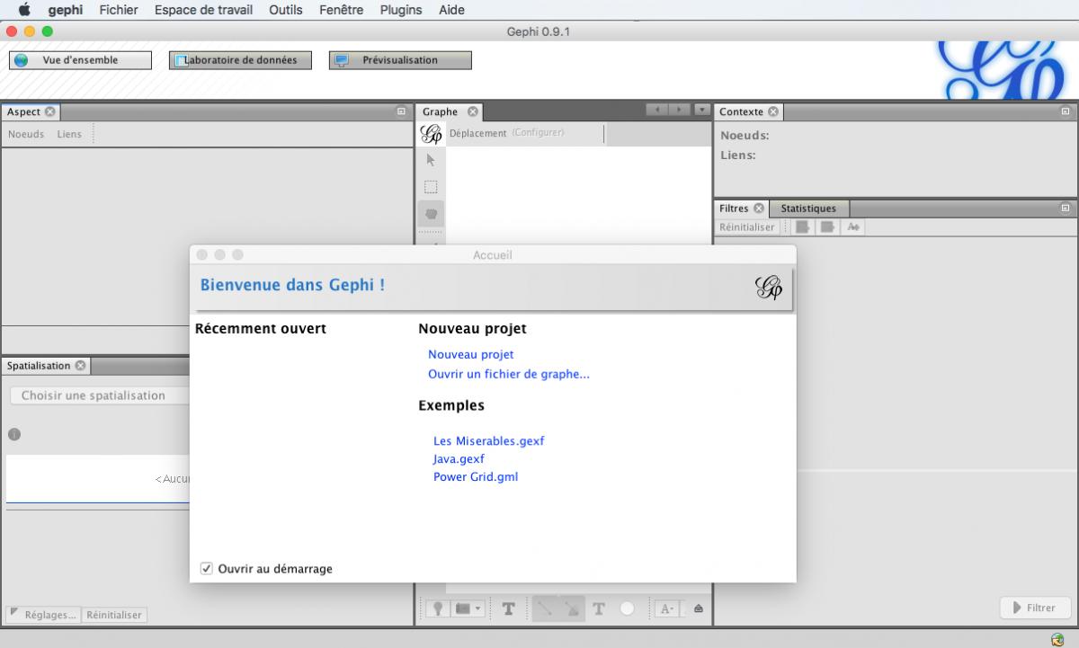 Capture d'écran du programme Gephi presentation