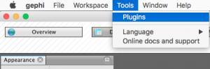 Capture d'écran du programme Gephi ajout de Plugins