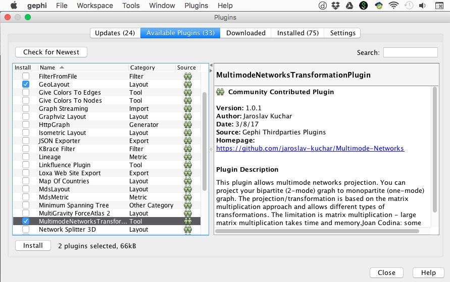 Capture d'écran du programme Gephi ajout des outils